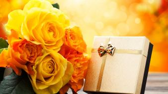 Boxes gifts presents roses yellow flowers wallpaper