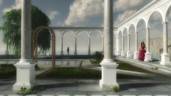 Cgi arches columns digital art fantasy wallpaper