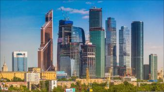 Cityscapes russia buildings skyscrapers moscow cranes unfinished city wallpaper