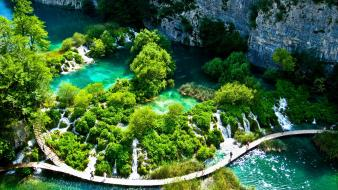 Cliffs falls croatia waterfalls national park footpath wallpaper