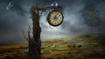 Clocks creative design digital art fantasy wallpaper