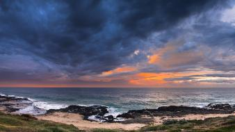 Clouds landscapes nature coast grass skies beach wallpaper