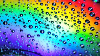Disc multicolor rainbows reflections water drops wallpaper