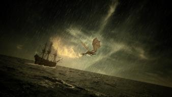 Dragons rain fire storm ships fantasy art sea wallpaper