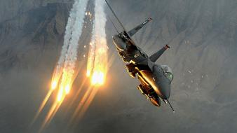 F-15 eagle aircraft flares rocket strike wallpaper