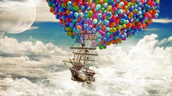 Fantastic balloons clouds colors digital art wallpaper