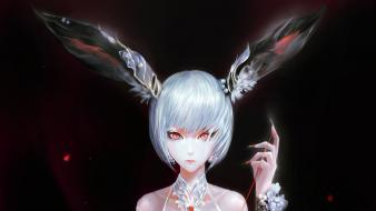 Fantasy art red eyes artwork long ears wallpaper