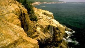Forests cliffs usa national park acadia sea wallpaper
