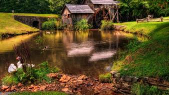 Green landscapes nature forests grass mill rivers watermill wallpaper