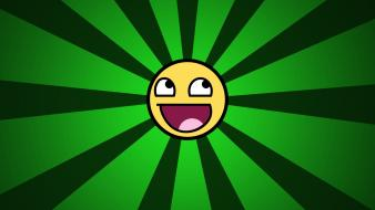 Green vector funny smiley face awesome wallpaper