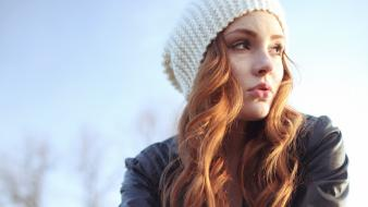 Hats leather jacket open mouth outdoors redheads wallpaper