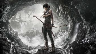 Lara croft tomb raider arrows artwork black hair wallpaper