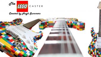 Legos artwork electric guitars multicolor stratocaster Wallpaper