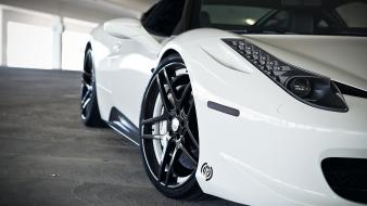 Lights white parking ferrari 458 italia wheels park Wallpaper