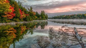 Nature trees red forests calm lakes reflections Wallpaper