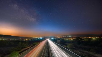 Night forests traffic roads rush hour cities Wallpaper