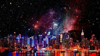 Outer space galaxies new york city cities wallpaper