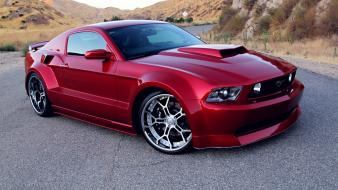 Red tuning ford mustang gt body wallpaper