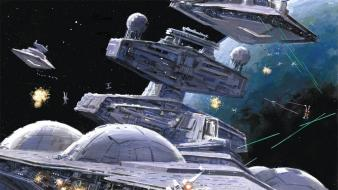 Star destroyer wars x-wing artwork futuristic wallpaper