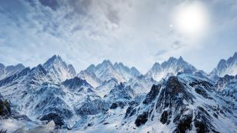 Sun mountains mountainscapes snow landscapes wallpaper