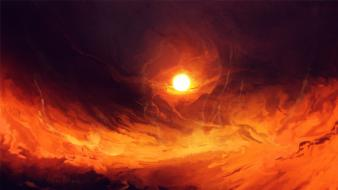Sun outer space orange artwork venus Wallpaper