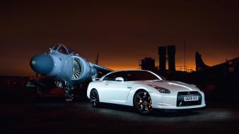 Sunset airplanes cars av-8b harrier nissan gtr jet wallpaper