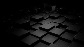 Abstract black blocks cubes digital art wallpaper
