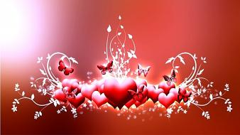 Abstract red love hearts wallpaper