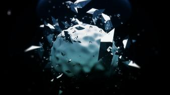 Abstract shapes artwork spheres 3d black background shatter Wallpaper