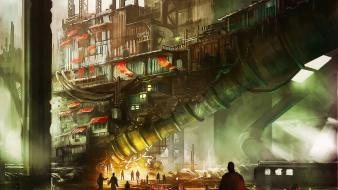 Artwork banners buildings concept art pipes wallpaper