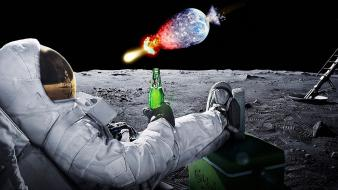 Beers outer space explosions moon earth photo manipulation wallpaper