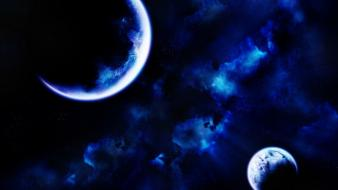 Blue outer space planets nebulae digital art wallpaper