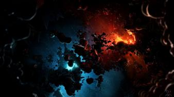 Blue outer space red stars planets digital art wallpaper