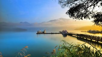Boats bridges dock landscapes mountains wallpaper