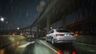 Cars bridges roads lexus eu ls600h taillights wallpaper