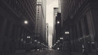 Cityscapes chicago usa monochrome cities financial district Wallpaper