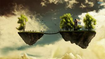 Clouds trees houses bridges fantasy art islands artwork wallpaper