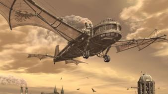 Fantasy art flying steampunk wings wallpaper