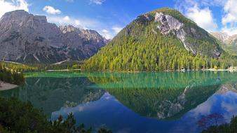 Forests buildings italy south tyrol lakes reflections Wallpaper