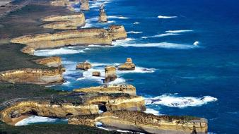 Grass cliffs roads australia twelves apostles beach wallpaper