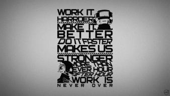 Harder better faster stronger grayscale lyrics typography wallpaper