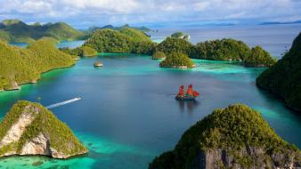 Islands boats sailing ships tropical island sea wallpaper