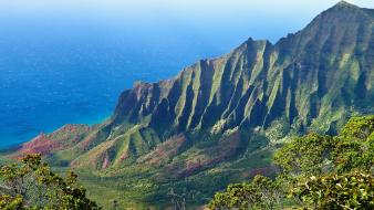Landscapes nature coast hills hawaii tropical usa sea Wallpaper