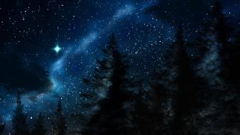 Landscapes night stars wallpaper
