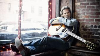 Men guitars actors jeff bridges wallpaper