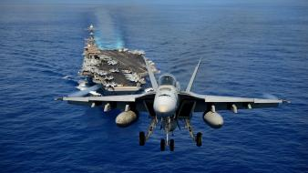 Military navy fa-18 hornet aircraft carriers fighter jets wallpaper