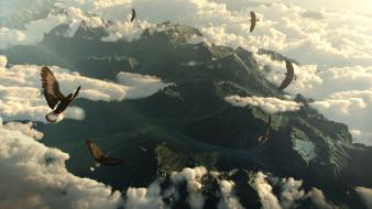 Mountains clouds landscapes movies birds eagles the hobbit wallpaper