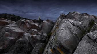 Nature dark hills rocks stones lighthouses moss wallpaper