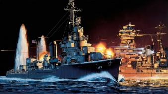 Navy ships artwork military art sea battle wallpaper