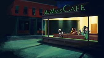 Nighthawks at the diner skullgirls madman street wallpaper